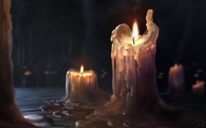 Picture Figure, Fire, Candle, Table, Wick, Art, Candle, Denis Loebner, by Denis Loebner, Dripply wax, Wax