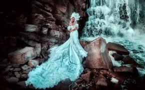 Picture girl, style, waterfall, tale, dress, photographer, costume, Russian, Russian beauty, kokoshnik, Princess, Maria Lipina