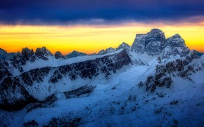 Picture winter, the sky, clouds, light, snow, sunset, mountains, clouds, blue, rocks, the slopes, tops, view, …