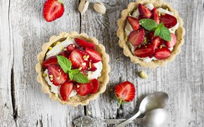 Picture berries, strawberry, cake, nuts, dessert, tartlets