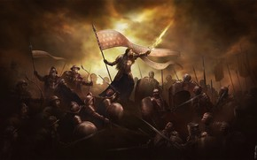 Picture France, Girl, War, Armor, Flag, Battle, Sword, Knights, Battle, Fantasy, Swords, Woman, War, The hundred …