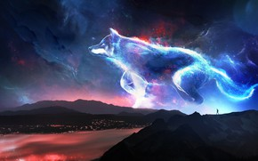 Picture the sky, stars, mountains, night, river, people, wolf