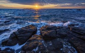Picture sea, the sun, sunset, stones, coast
