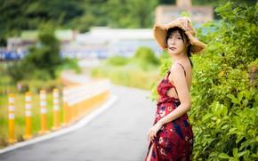 Picture girl, hat, dress, Asian, bokeh