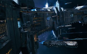 Picture space, ships, stars, station, asteroids