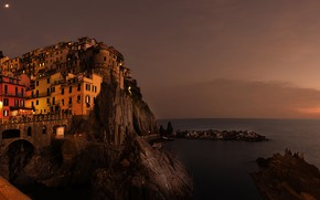Picture sea, night, the city, people, rocks, shore, coast, building, home, Italy, Manarola