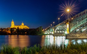 Picture bridge, lights, river, the evening, Spain, blue hour, Salamanca
