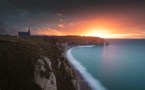 Picture sea, sunset, shore, Church