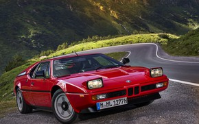 Picture red, lights, BMW, BMW M1, E26, M1