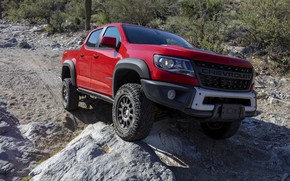 Picture red, stones, Chevrolet, the hood, pickup, Colorado, 2019, ZR2 Bison