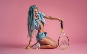 Wallpaper model, look, tennis, ball, blue hair, A Diakov George