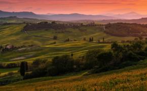 Wallpaper summer, trees, sunset, mountains, fog, hills, field, dal, the evening, green, Italy, haze, houses, settlement, ...