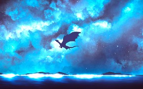 Picture the sky, night, dragon, fantasy