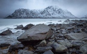 Picture winter, sea, mountains, stones, shore, Iceland, snowy peaks