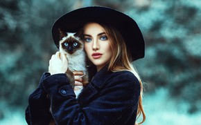Picture cat, cat, girl, animal, hat, makeup, red, Jessica Napolitano