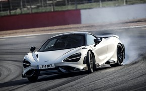 Picture white, smoke, McLaren, turn, track, 2020, 765LT