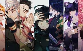 Picture collage, anime, art, characters, The Blade Cleaves Demons, Demon Slayer: Kimetsu No Yaiba