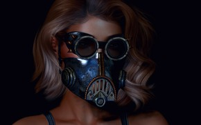 Picture style, rendering, face, girl, mask