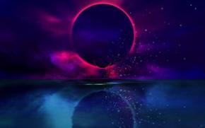 Picture The sun, Reflection, Planet, Eclipse, Fantasy, Art, Art, Planet, Eclipse, Illustration, Josef Bartoň, by Josef …