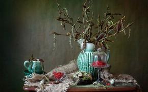 Picture branches, berries, eggs, socket, mug, fabric, pitcher, still life, kidney, table, burlap, cherry, earrings, vase, …