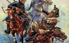 Picture Winter, Figure, Battle, Soldiers, Horse, Art, Cossacks, Russian, 1812, The Frenchman, Anatoly Telenik, Анатолий Теленик, …