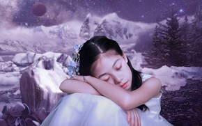 Picture background, mood, planet, treatment, art, girl, Asian