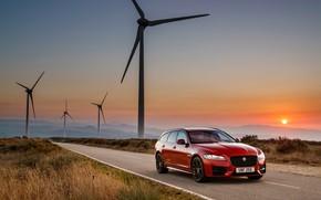 Picture sunset, Jaguar, universal, Sportbrake, 2017, Jaguar XF, R-Sport