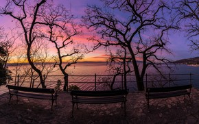 Picture sea, sunset, shore, bench