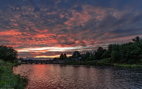 Picture summer, the sky, water, sunset, bridge, nature, river