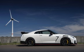 Picture white, Nissan, GT-R, side view, R35, Nismo, 2020, 2019