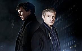Picture night, the city, Sherlock Holmes, Martin Freeman, Benedict Cumberbatch, Sherlock, Sherlock BBC, Sherlock Holmes, John …