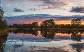 Picture summer, the sky, water, trees, sunset, nature, reflection, river, Russia, Vladimir Vasiliev