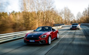 Picture road, movement, Roadster, spider, black and white, Abarth, black and red, 124 Spider, 2019, Rally …