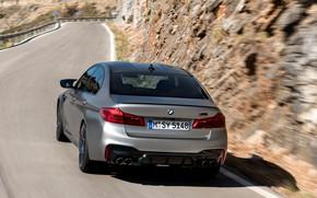 Picture road, grey, BMW, sedan, rear view, 4x4, 2018, the slope of the mountain, four-door, M5, …