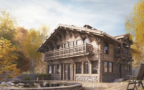Picture trees, house, chair, architecture, CHALET HOUSE