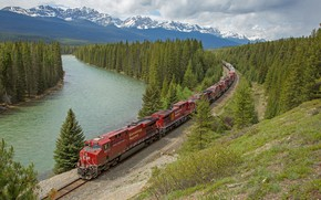 Picture forest, landscape, lake, train