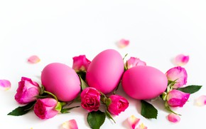 Picture flowers, holiday, roses, eggs, Easter, buds