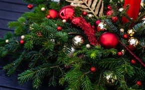 Picture winter, balls, branches, holiday, balls, Christmas, red, New year, needles, gold, snowflake, bokeh, Christmas decorations, …