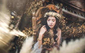 Picture girl, flowers, portrait, Asian, wreath, closed eyes