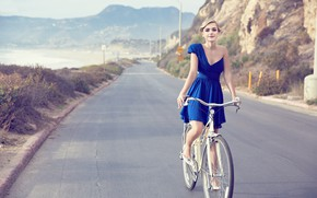 Picture road, look, nature, bike, smile, rock, retro, background, dress, actress, Chicago, hairstyle, blonde, beautiful, beauty, …