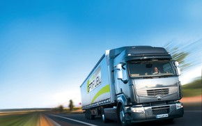 Picture road, grey, movement, truck, Renault, tractor, 4x2, the trailer, Premium Route, Renault Trucks