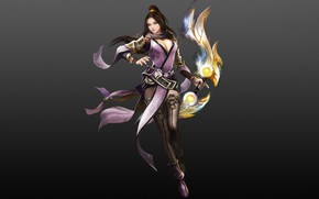 Picture Girl, Fantasy, Beautiful, Art, Asian, Minimalism, Characters, Armor, Eron Kim, The One Sword