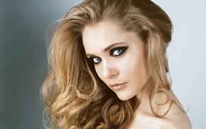 Picture girl, face, model, portrait, makeup, curls
