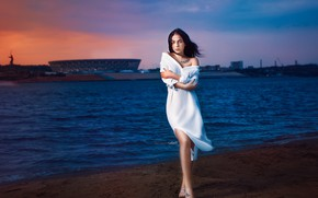 Picture pose, hands, Angelina Sorokina, the wind, Alexander Drobkov-Light, the evening, girl, tattoo, river, dress, sunset