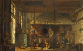 Picture oil, interior, picture, canvas, Johannes Jelgerhuis, 1818, Johannes Olherwise, The interior of Anthony's pharmacy pharmacist …
