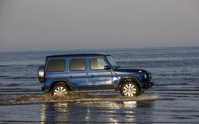 Picture water, blue, reflection, Mercedes-Benz, SUV, 4x4, 2018, G-Class, G 500, V8