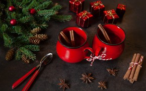 Picture new year, hot, chocolate, cinnamon, decor, spices