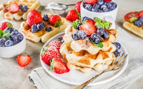 Picture dessert, waffles, powdered sugar