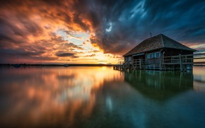 Picture sunset, lake, house