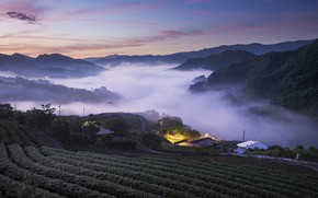Picture field, the sky, mountains, lights, view, Asia, houses, twilight, settlement, landing, arable land